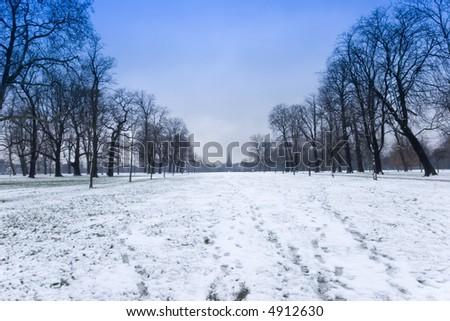 A winter scene of Hyde Park in London. - stock photo