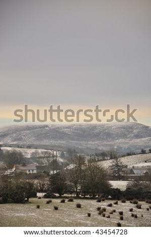 A winter scene of Snow on Slieve Gullion Mountain, Armagh, Ireland - stock photo