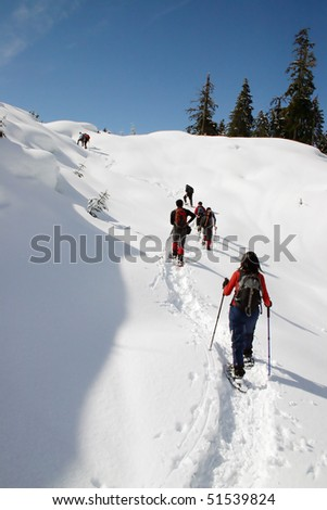 A winter snowshoe hiking view. - stock photo