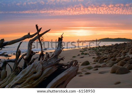 A winter sunset along Santa Barbara's Butterfly beach. - stock photo