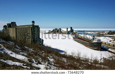 A winter view of the Salt Mines in Goderich, Ontario - stock photo