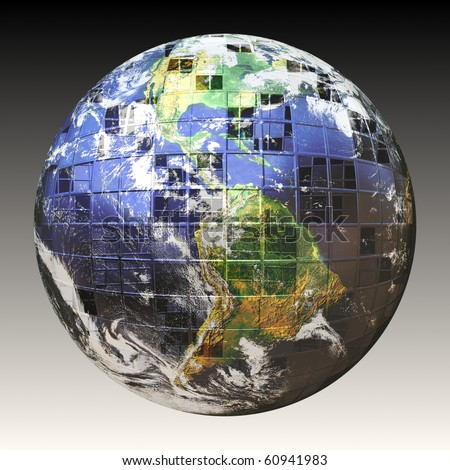 A wire frame sphere of the earth split up in square sections. Earth image courtesy of NASA.