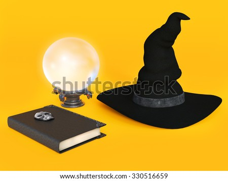 A witch hat, spell book and a crystal ball on a halloween orange colored background. - stock photo