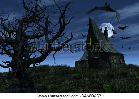A witch's house sits on a hill, surrounded by bats - 3D render. - stock photo
