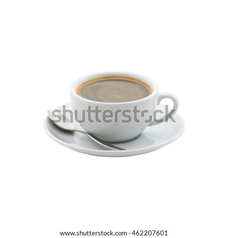 a withe cup of black coffee on white back ground