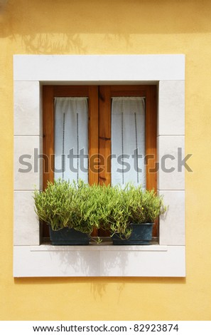 A Withe window in yellow wall