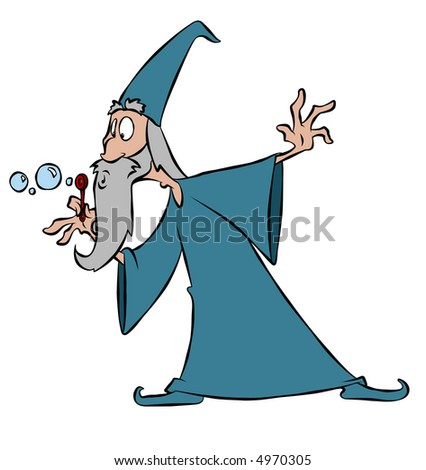 A wizard and his magic wand. - stock photo
