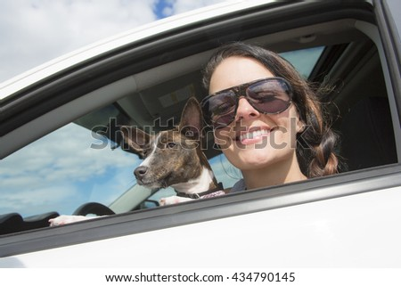 A Woman and dog in car on summer travel. - stock photo