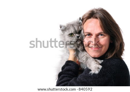 A woman and her cat - stock photo