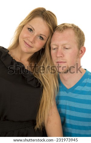 a woman and man with their heads together. - stock photo