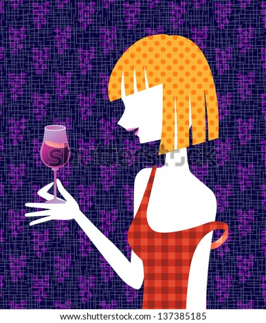 A woman and red wine - stock photo