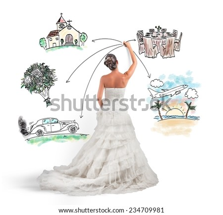 A woman arranges her marriage with a draft project - stock photo