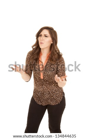 A woman asking what in sigh language not sure what is going on. - stock photo