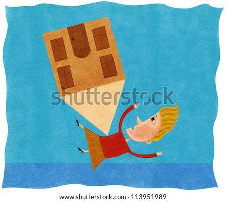 A woman being knocked over and pinned down by a house - stock photo