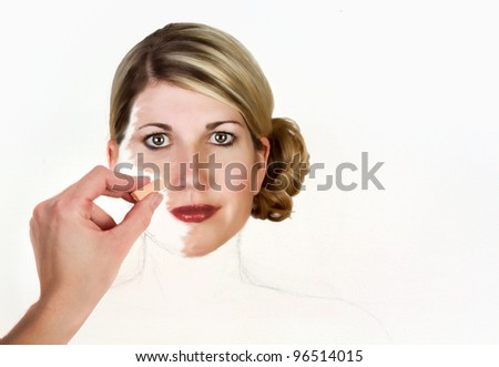 A woman being painted onto a canvas white canvas for background