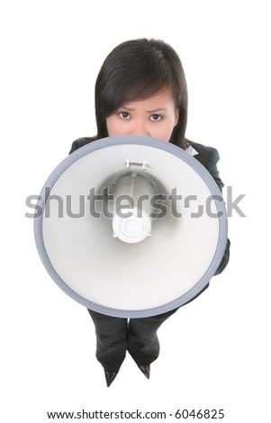 A woman business leader shouting in a megaphone  (Focus on Megaphone)