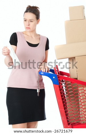 A woman checking her shopping receipt on white