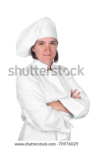 A woman chef in chef whites against a white background.