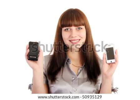 A woman chooses a phone - stock photo