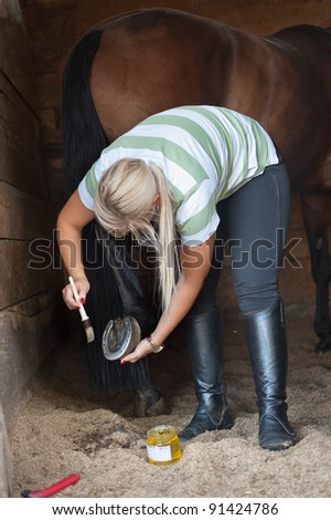 A woman cleans a hoof of horse - stock photo