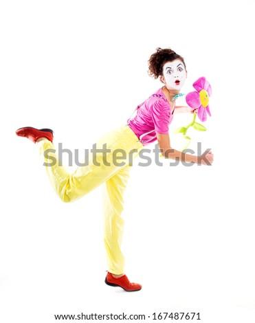 A woman clown - stock photo