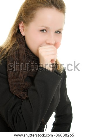A woman coughs on a white background. - stock photo