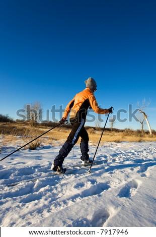 A woman cross-country skier enjoying winter - stock photo