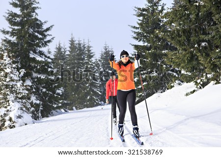 A woman cross-country skiing in the wintry forest - stock photo