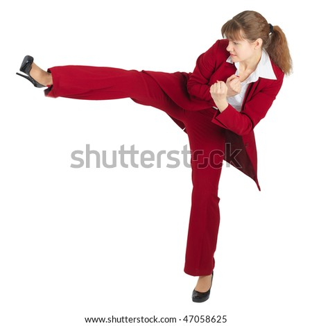 A woman does a heel strike your opponent, isolated on a white background - stock photo