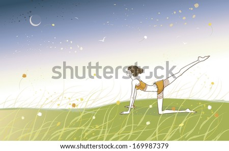 A woman doing yoga in the grass at night time. - stock photo