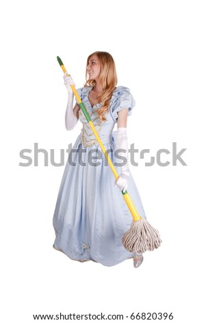 A woman dressed like Cinderella looking sad and holding a mop. - stock photo
