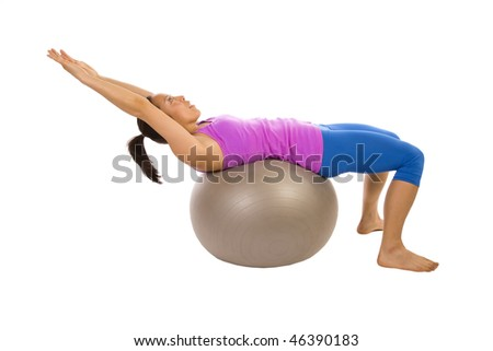 A woman exercising and being healthy by working out on an exercise ball.