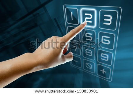 a woman finger type a code on a digital screen