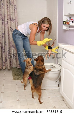 a woman flushing her boyfriend
