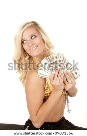 a woman genie with a fan full of money in her hands with a smile on her face.