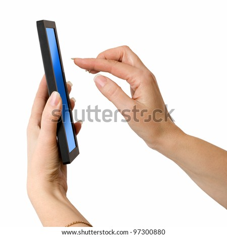 a woman hand holding a touchpad pc - stock photo