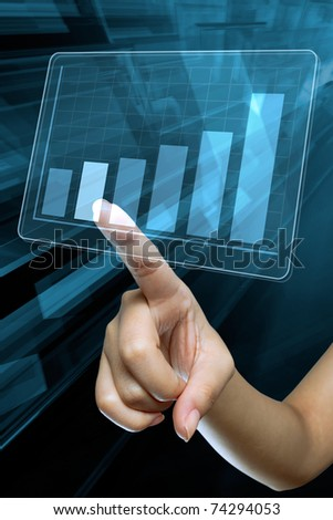 a woman hand make a graph on a digital screen - stock photo
