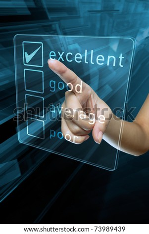 a woman hand select a option on a screen - stock photo