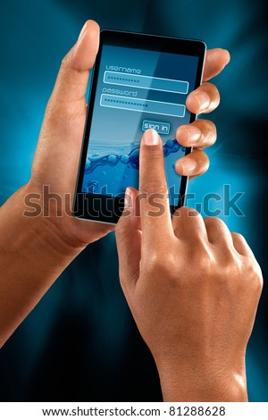 a woman hands sign as member on a mobile phone - stock photo