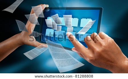 a woman hands using a personnal note book to check folders - stock photo