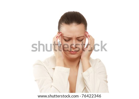 A woman having a headache, closeup