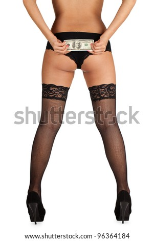 A woman holding a hundred dollar bill over her buttocks. - stock photo