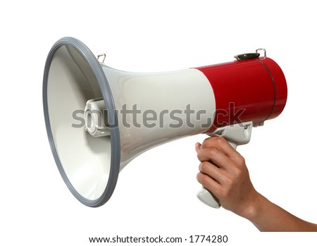 A woman holding a loudspeaker - stock photo