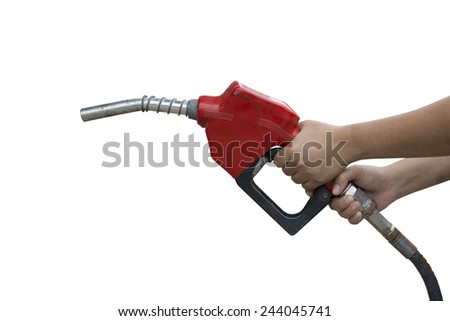 A woman holding a red gasoline nozzle on a white background. - stock photo