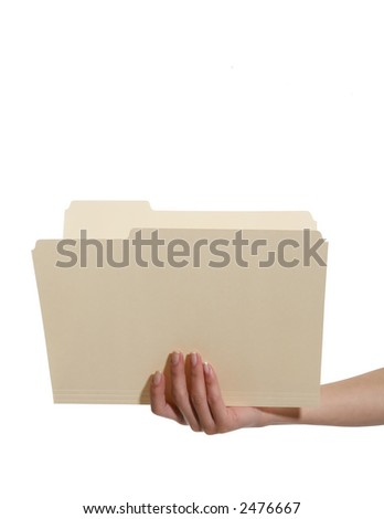 A woman holding an open manila folder isolated over white - stock photo