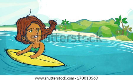 A woman holding onto a surfboard while swimming in the ocean.
