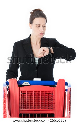 A woman in a business suit in a shopping role, in a rush