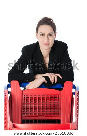 A woman in a business suit in a shopping scenario on a white background