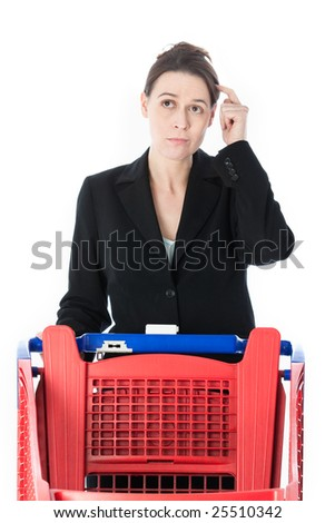 A woman in a domestic role in a shopping scenario - stock photo