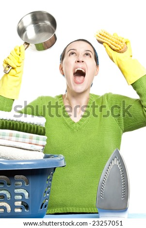 A woman in a domestic role screaming - on white background - stock photo